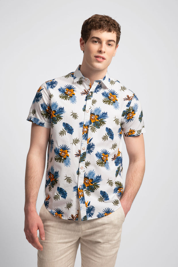 White Shirt W/ Blue & Orange Florals