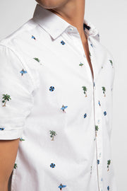 White Surfer & Palm Tree Shirt