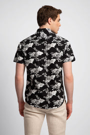 Black Shirt W/ White Floral