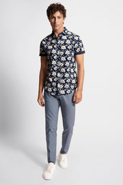 Navy Shirt W/ White & Light Blue Florals