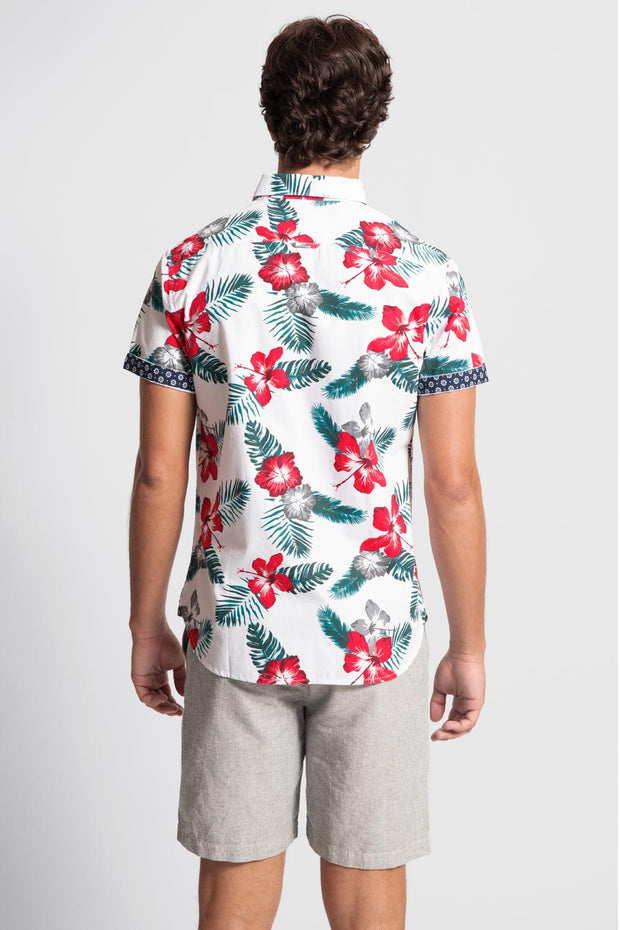 White Shirt W/ Gray & Red Floral