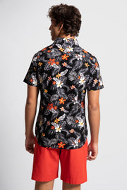 Black Shirt W/ Red & Gray Floral