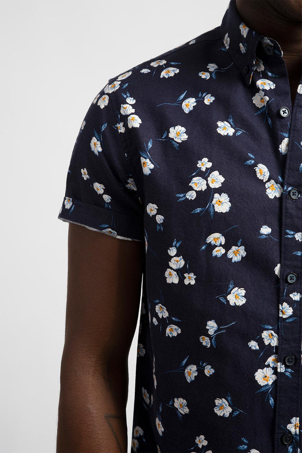 Navy Floral Printed Linen Shirt