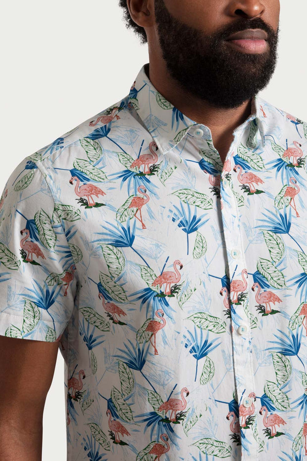 White Shirt with Printed Flamingos