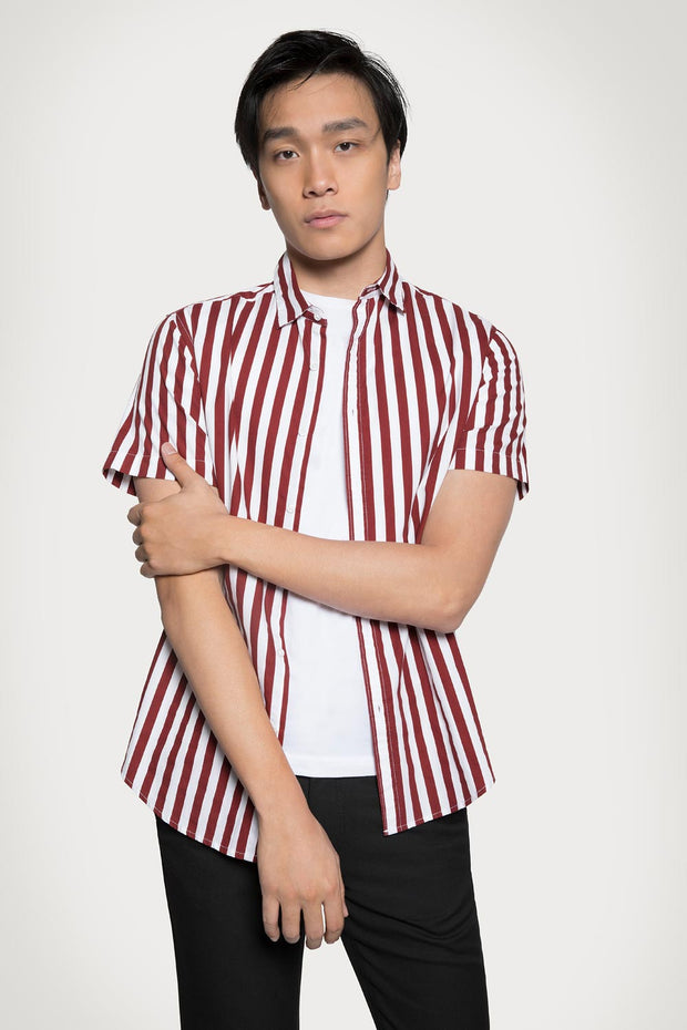 Red Vertical Stripe Poplin Shirt