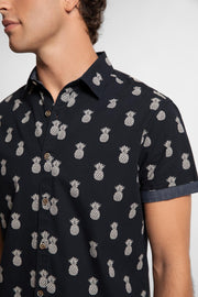 Navy Pineapple Print Shirt