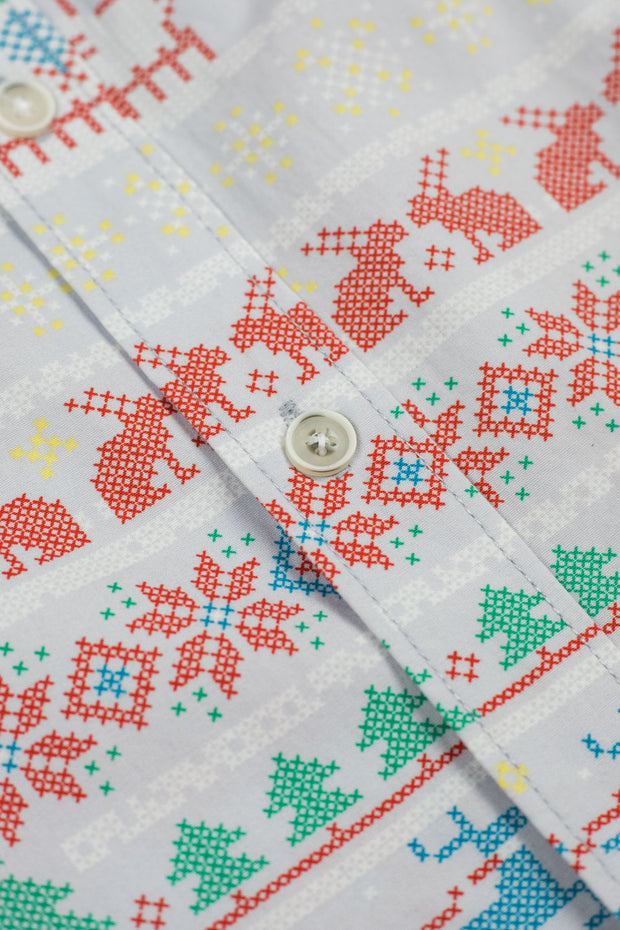 Grey Holiday Print Button Down
