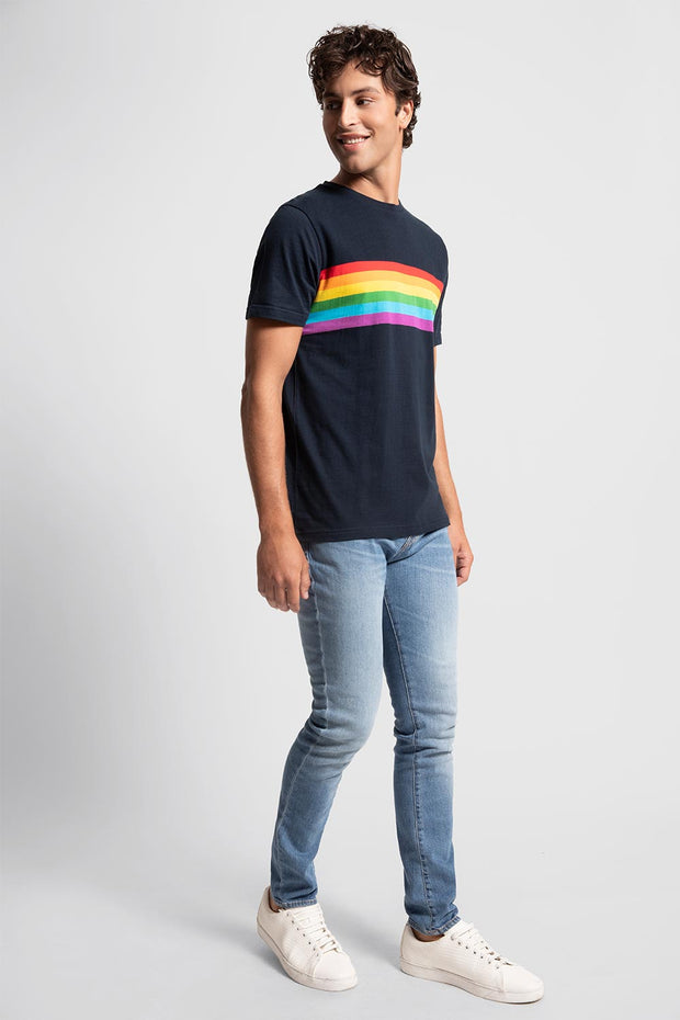 Navy Rainbow Striped T-Shirt