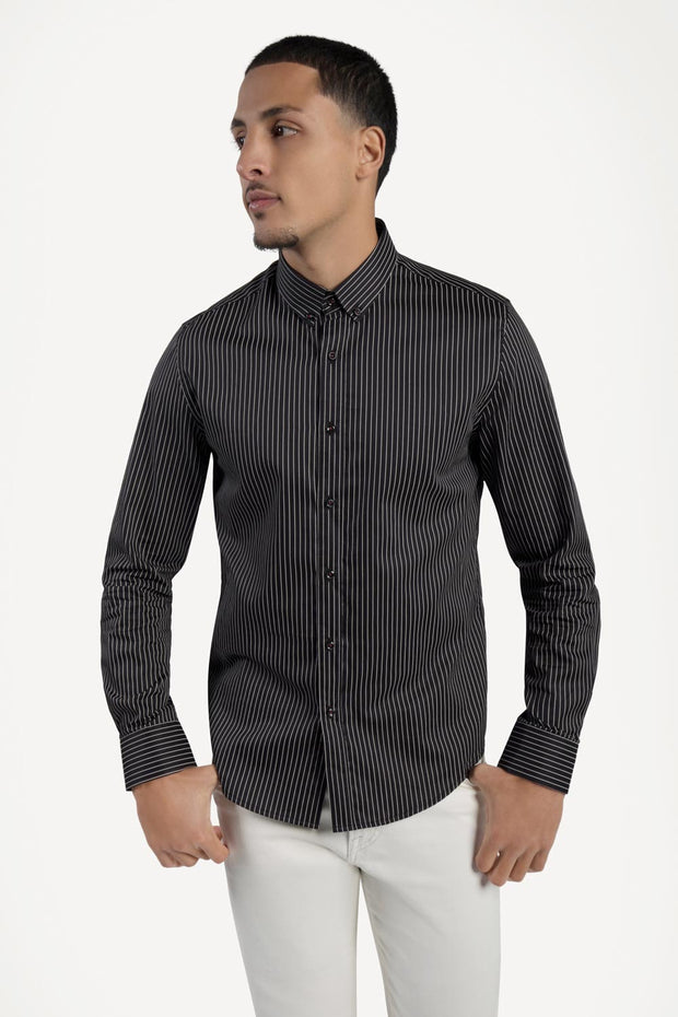 Black & White Striped Satin Shirt