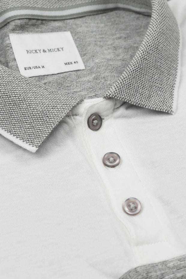 Grey mélange & White Polo