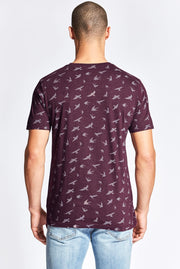 Burgundy Bird Print Crew Neck Shirt