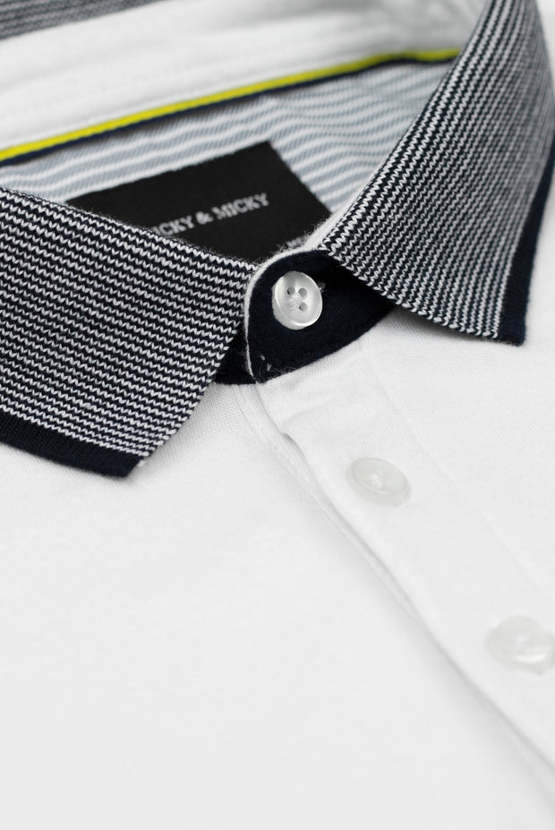 White Polo With Striped Collar