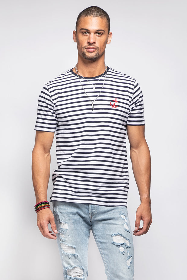 Navy Blue Striped Shirt