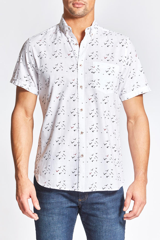 White Bird Print Shirt