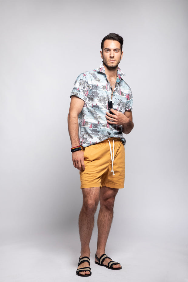 Tropical & Surf Print Short Sleeve Shirt