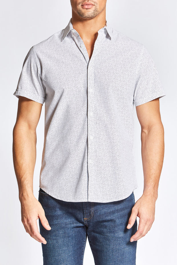 White Shirt with Black Dots