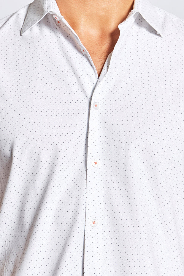 White Shirt With Black Polka Dots