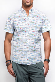 White Nautical Print Short Sleeve Shirt