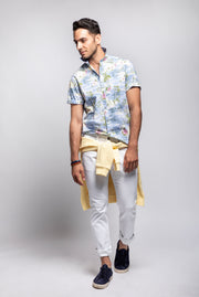 Light Tropical Print Short Sleeve Shirt