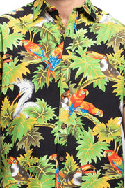 Black Tropical & Bird Print Shirt