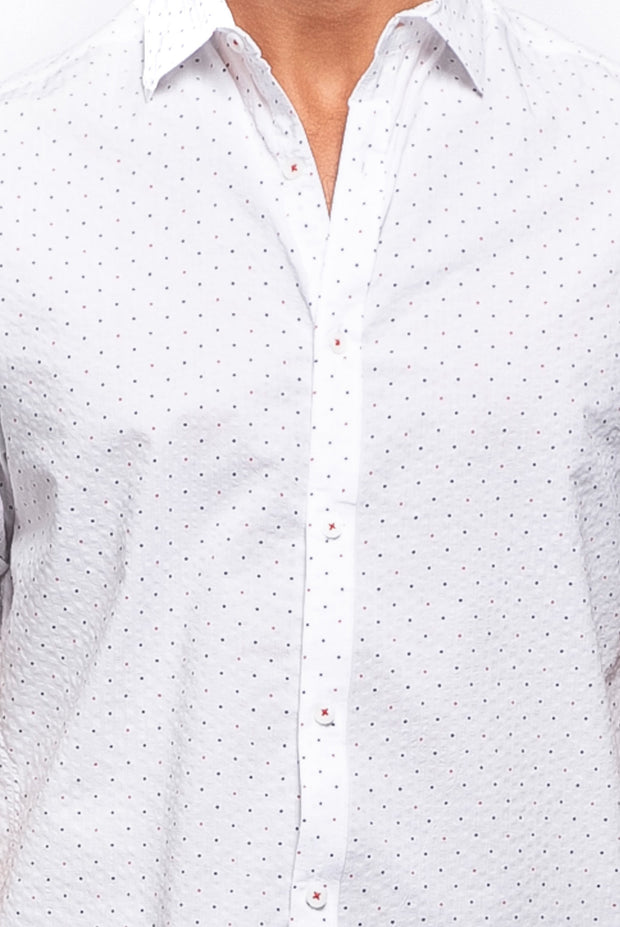 Polka Dot Print Seersucker Shirt