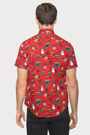 Holiday Print Red Poplin Shirt