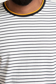 White Striped Long Sleeve Knit Shirt