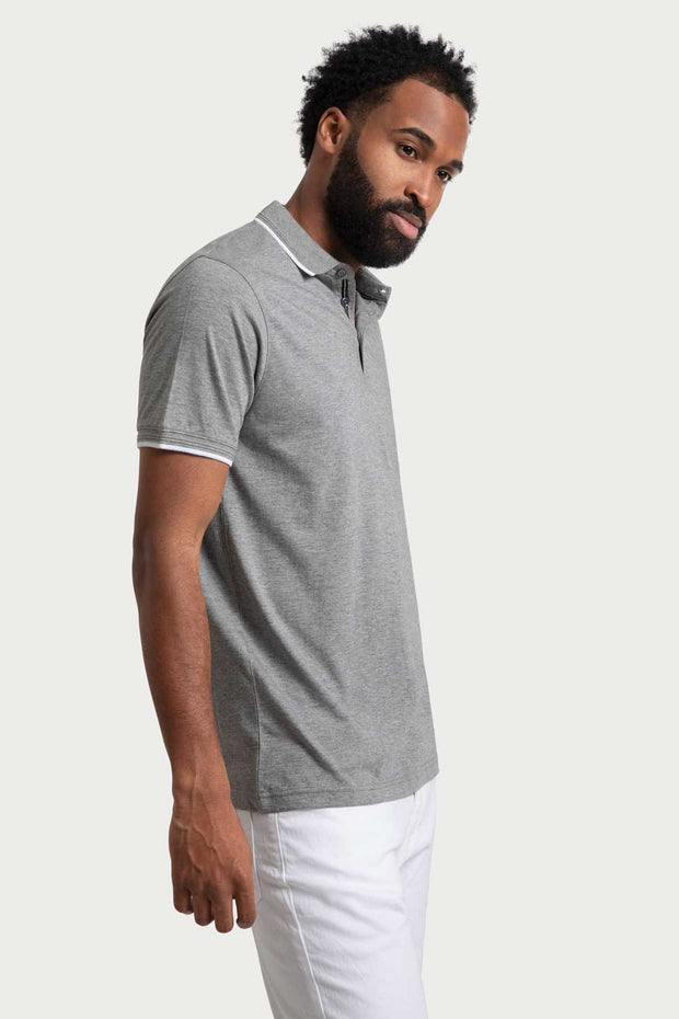 Grey Heather Jersey Polo