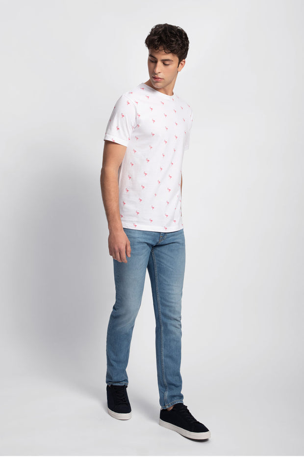 White Flamingo Print T-Shirt