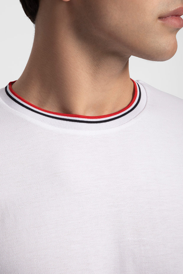 White Pique T-Shirt W/ Red & Navy Trim
