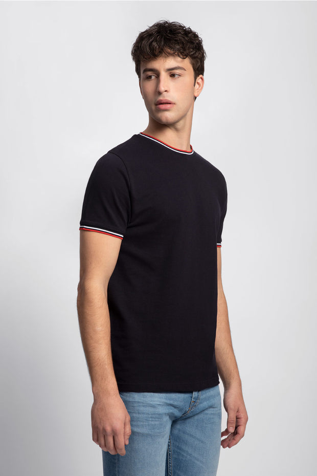 Navy Pique T-Shirt W/ Red & White Trim