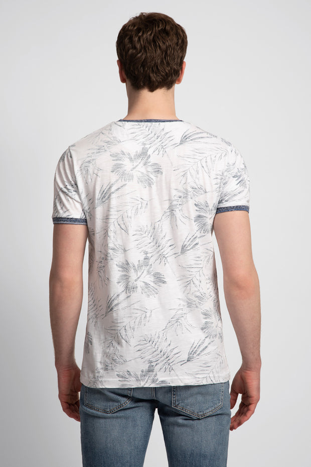 White W/ Navy Floral T-Shirt