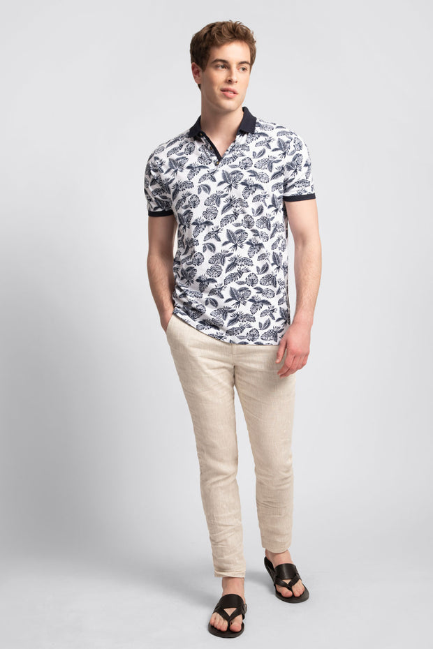 White Polo Shirt W/ Navy Florals