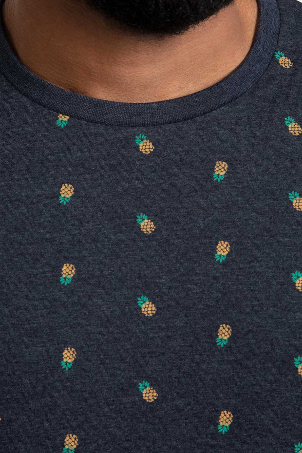 Pineapple Print Navy T-Shirt