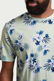 Floral Teal Cotton T-Shirt