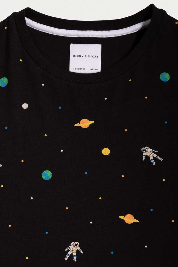 Space Print Crew Neck T-Shirt