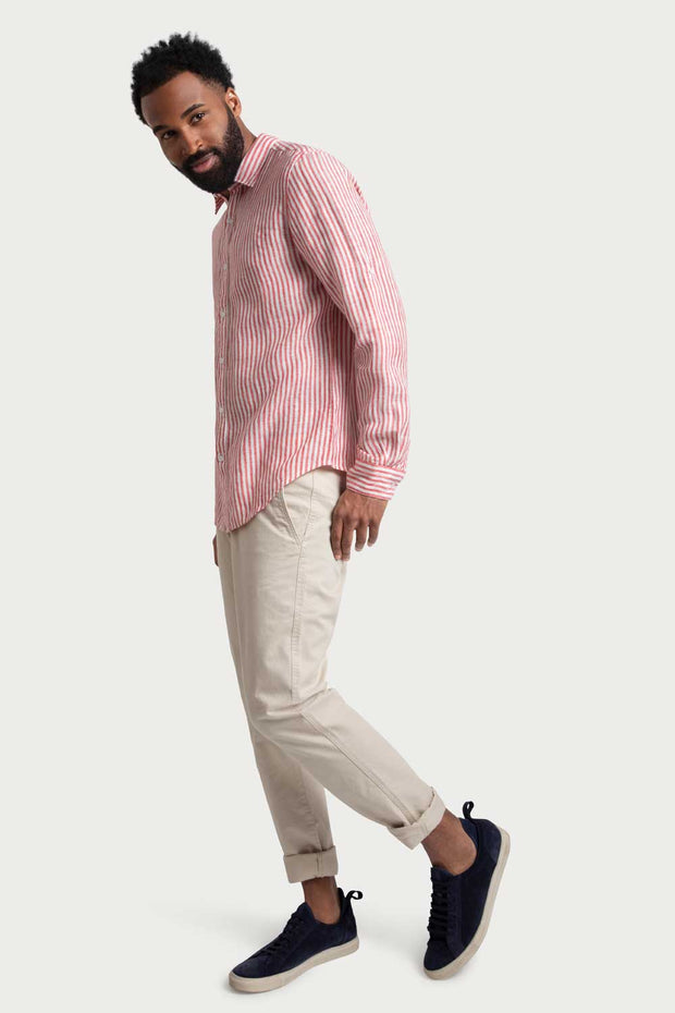 Red Linen Striped Shirt
