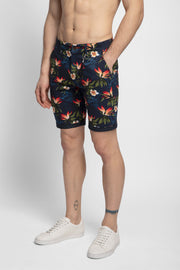 Navy Blue Printed Stretch Shorts