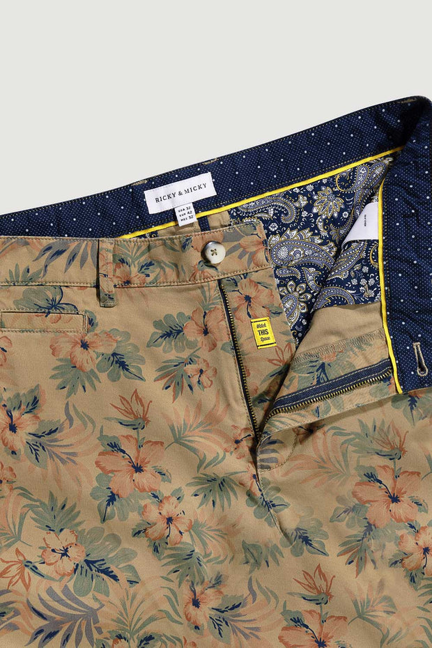 Vintage Floral Cotton Twill Shorts