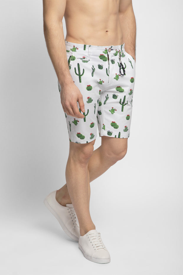 White Cactus Printed Stretch Shorts