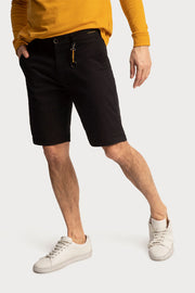 Black Cotton Twill Shorts