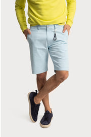 Light Blue Cotton Twill Shorts