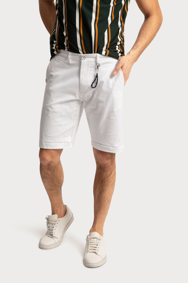 White Cotton Twill Shorts