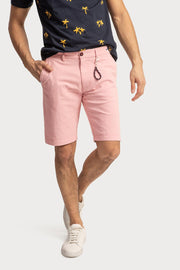 Pink Cotton Twill Shorts