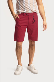 Crimson Cotton Twill Shorts