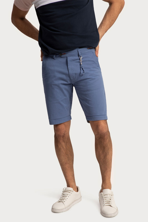 Blue Cotton Twill Shorts