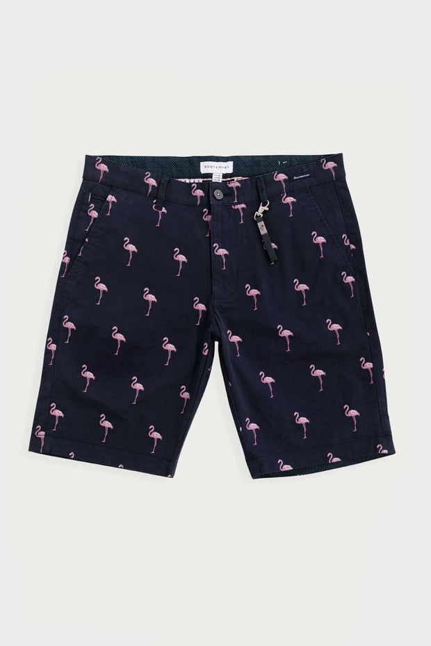 Navy Flamingo Cotton Twill Shorts