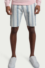 White Stripe Cotton Twill Shorts
