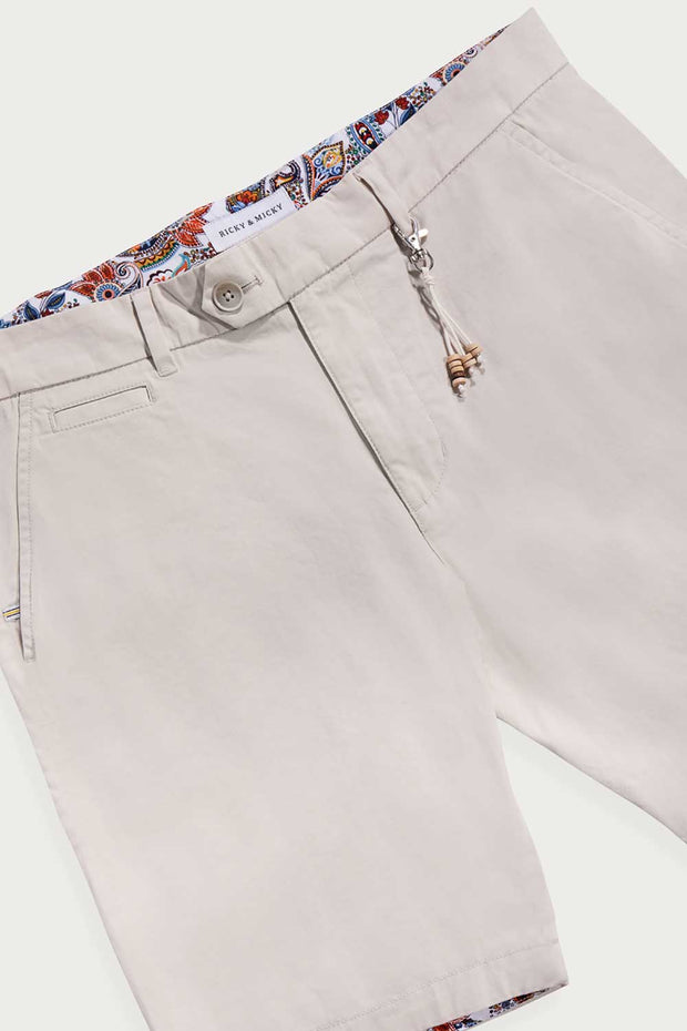 Cream Cotton Twill Shorts
