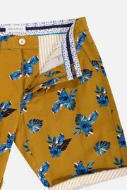 Blue Florals Cotton Twill Short